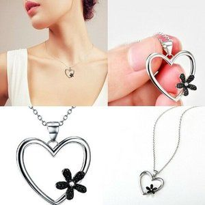 925 Sterling Silver Heart Charm Necklace